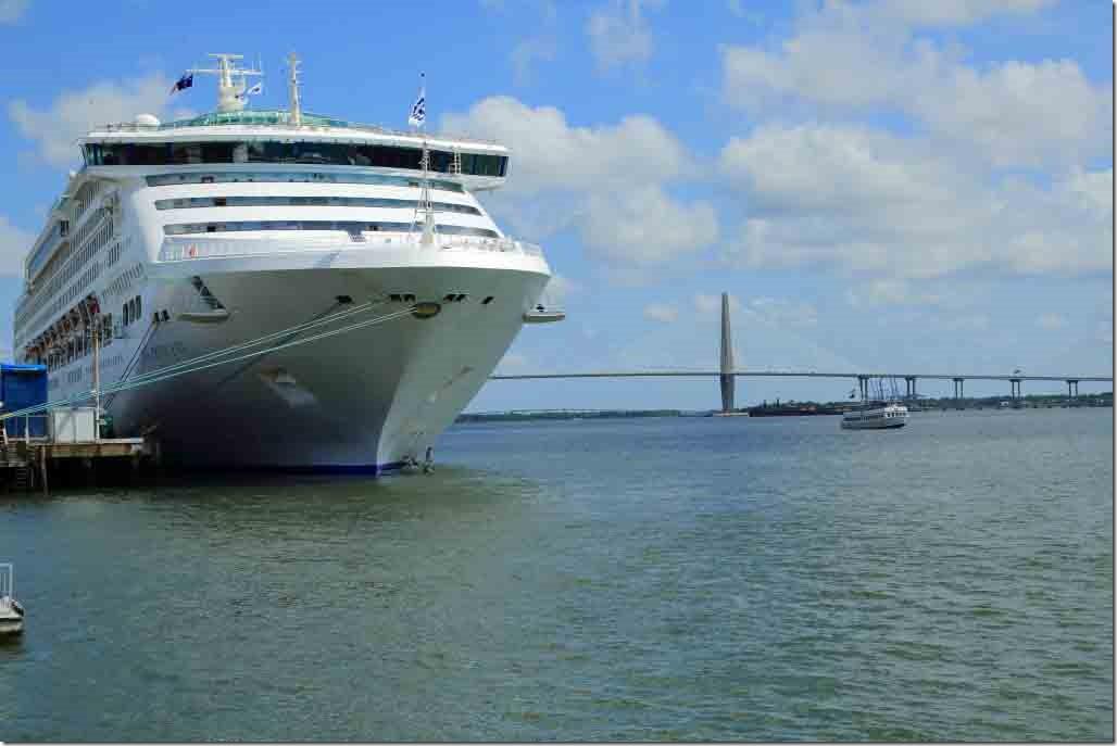 Charleston walk Sea Princess alongside with bridge behind