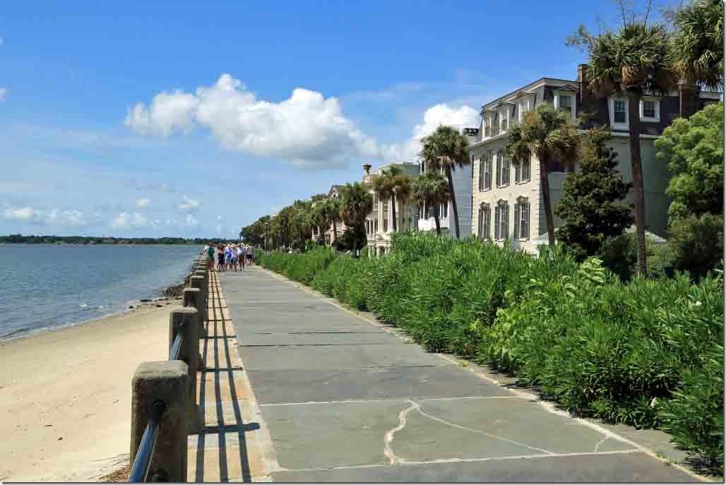Charleston walk seawall promenade in front of multi-millionaire row
