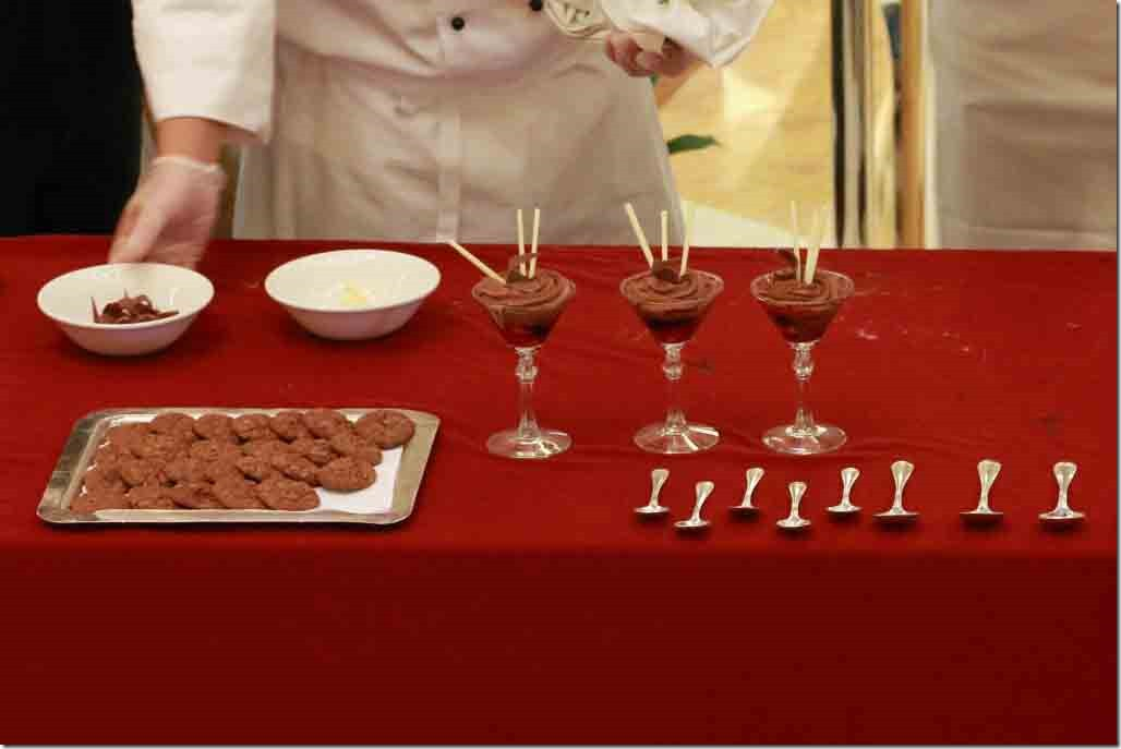 Chocolate demo completed cookies and mousse