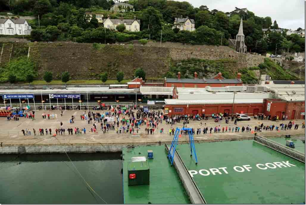 Departing Cobh with local families and pets out waving goodbye