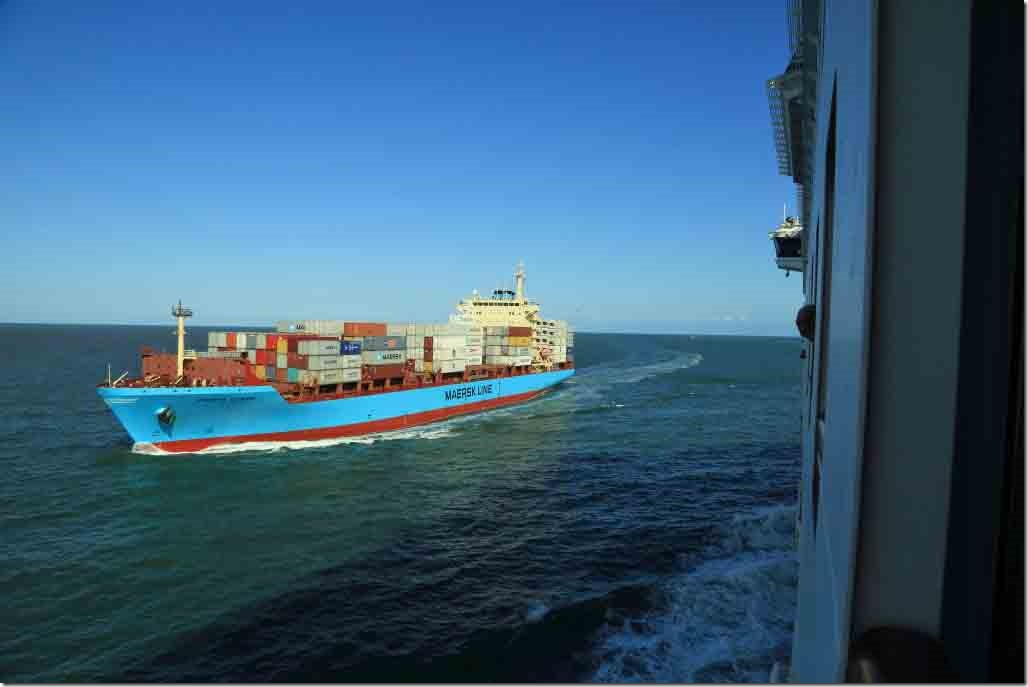 Departure passing inbound Maersk ship