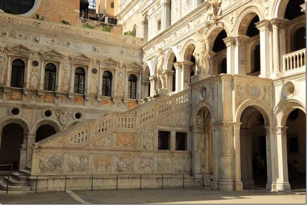 Doge's Palace courtyard Giant's Staircase protected by statues of Mars and Neptune