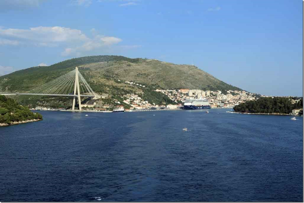 Dubrovnik Cruise and Ferry Port with our berth being ahead of the remaining ship