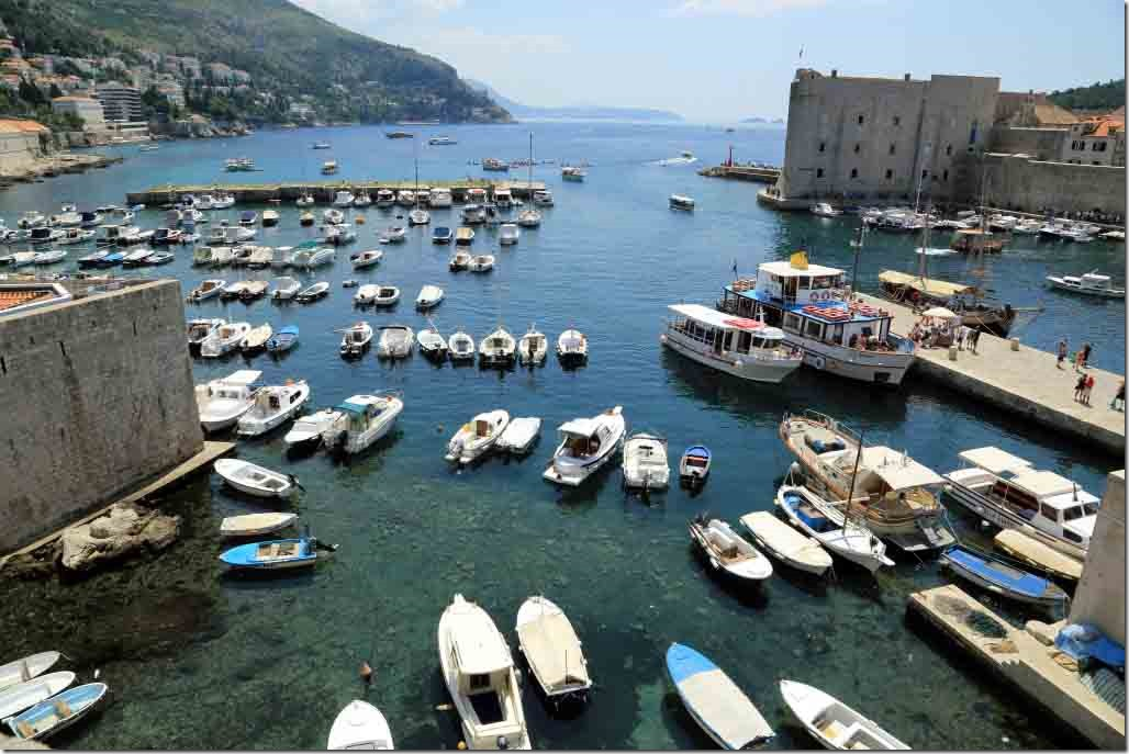 Dubrovnik Wall crystal clear harbour and looking south along Croatia Coast