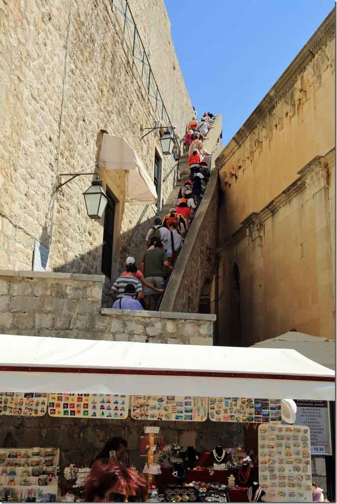 Dubrovnik Wall entrance stair up to the wall