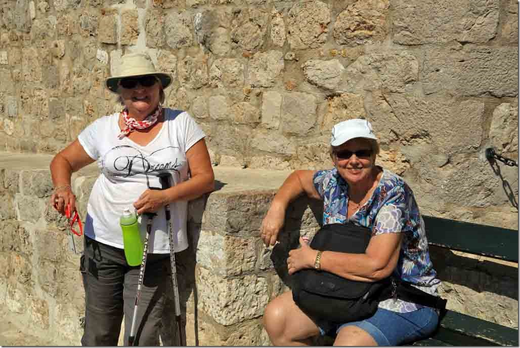 Dubrovnik Wall Judi and Viv taking a break after climbing the entrance stairs