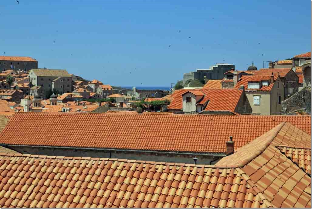 Dubrovnik Wall looking across the roofs of Old Town to the Adriatic
