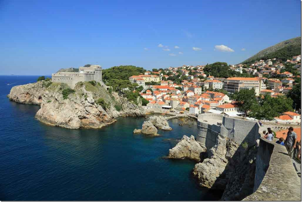 Dubrovnik Wall looking back at the castle and city outside the wall