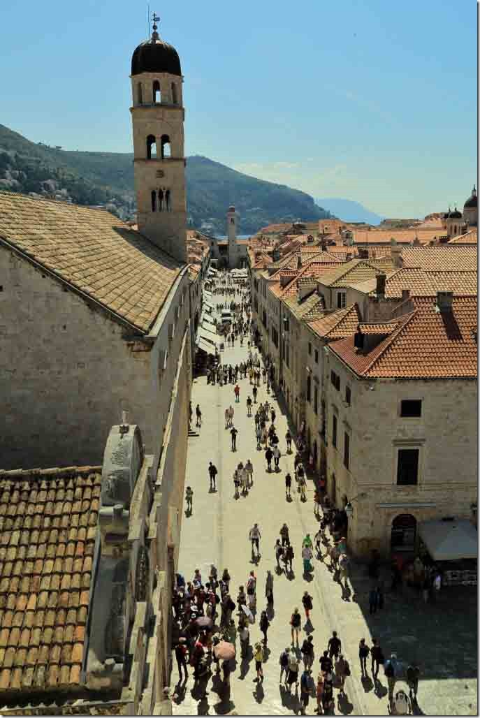 Dubrovnik Wall looking down on the Old City's main street