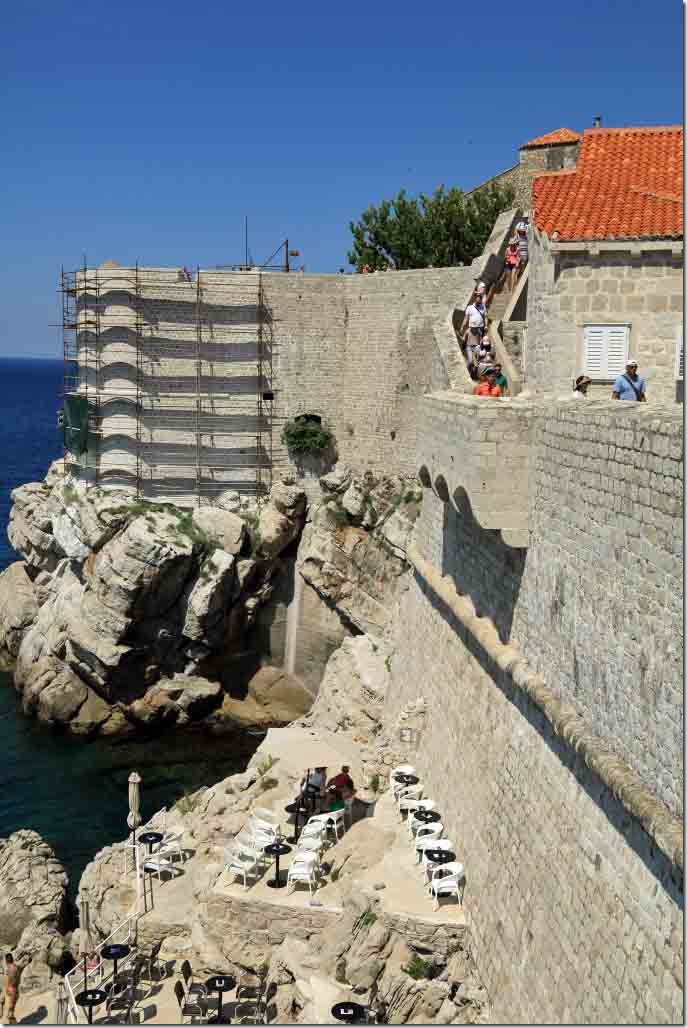 Dubrovnik Wall restoration work has completely replaced a section