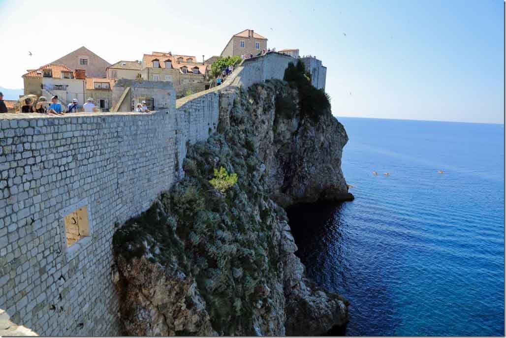 Dubrovnik Wall showing the first stairs to climb to reach the highest part of the wall on the Adriatic side