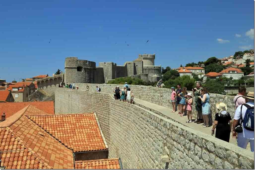 Dubrovnik Wall the last set of turrets before the drop back to where we started