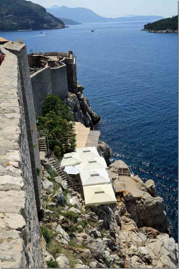 Dubrovnik Wall with cliff side cafe outside the wall