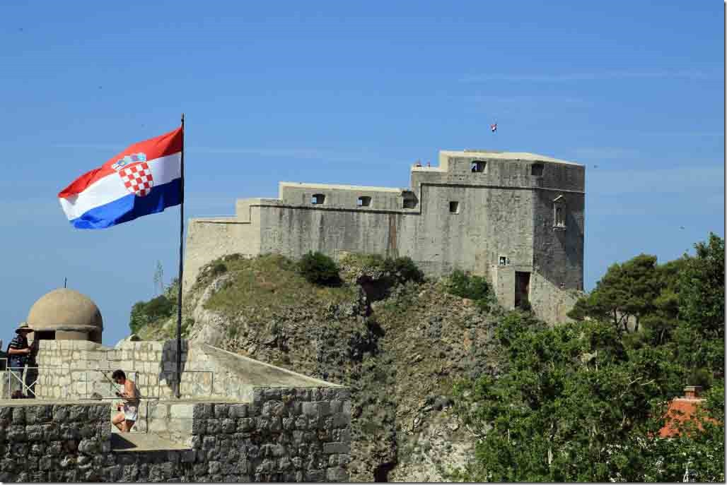 Dubrovnik Wall with Croatia flag