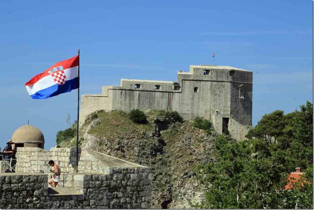 Dubrovnik Wall with Croatia flag