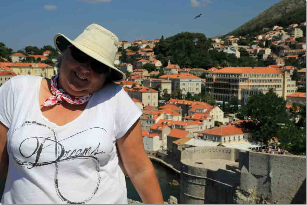 Dubrovnik Wall with Judi and new city in background
