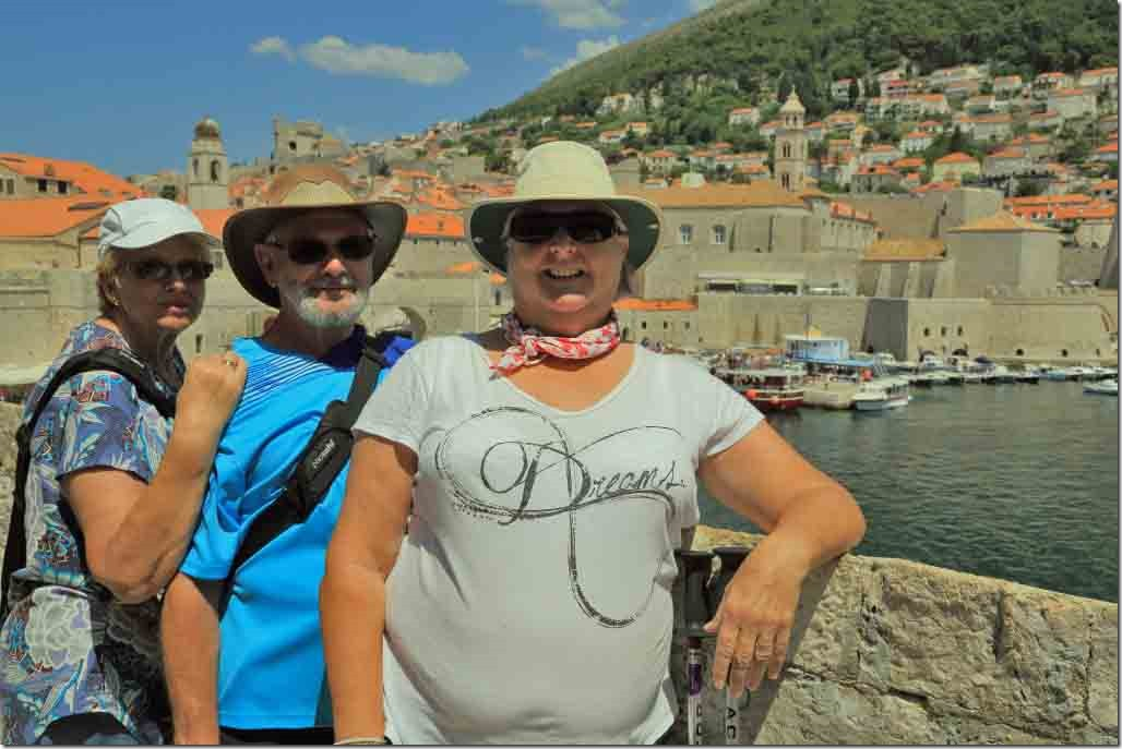 Dubrovnik Wall with Judi, Bruce and Viv overlooking the harbour