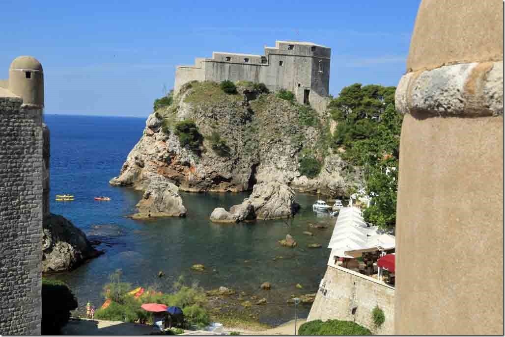 Dubrovnik Wall with small bay where Kayakers just departed