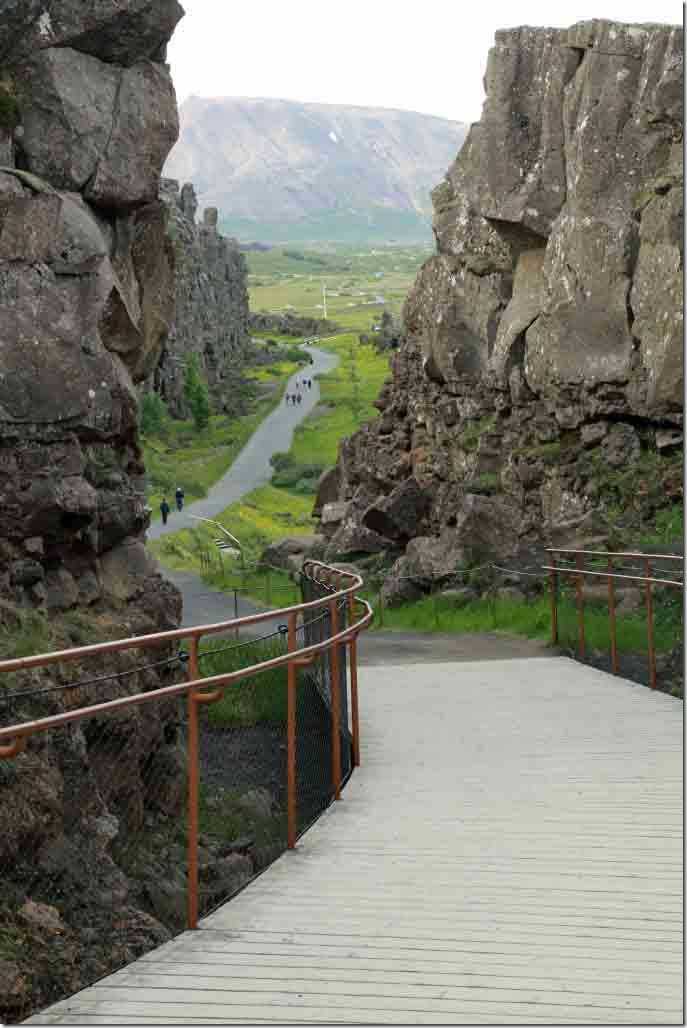 Fault line looking down the expanding gap between the American and Eurasian plates