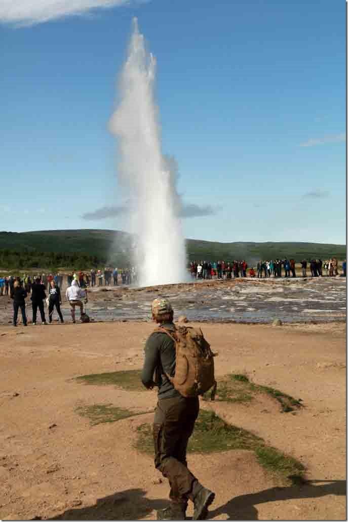 Geyser eruption from a distance