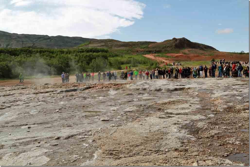 Geyser standing below the geyser looking uphill