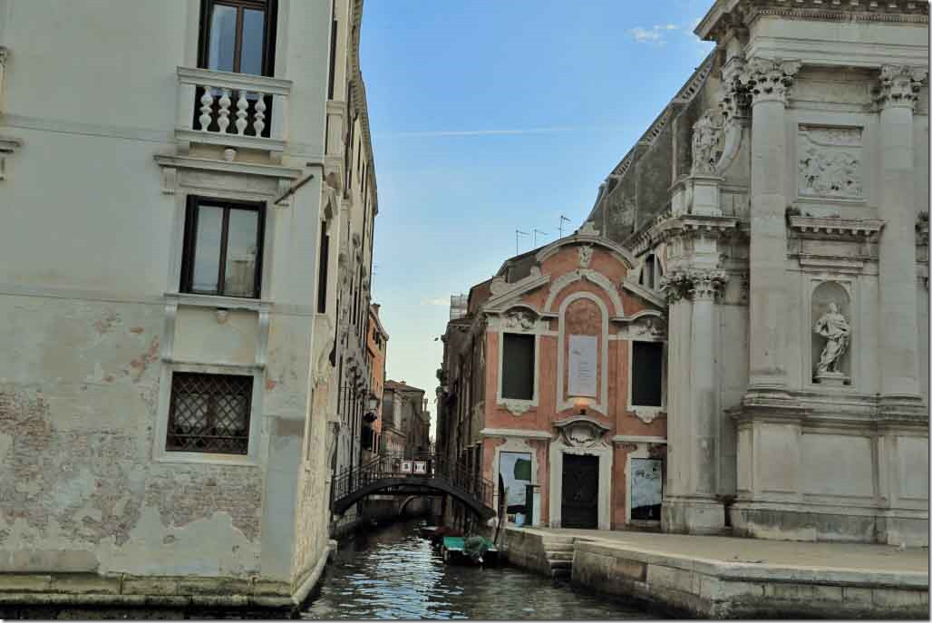 Grand Canal cruise with small canal leading into Venice