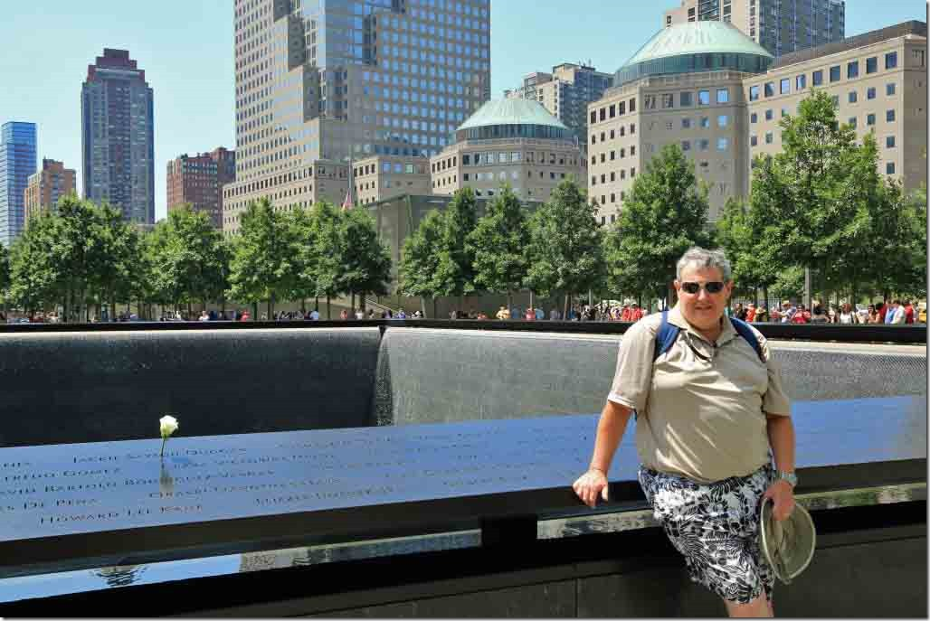 Ground Zero Andy at one of the Twin Tower memorials