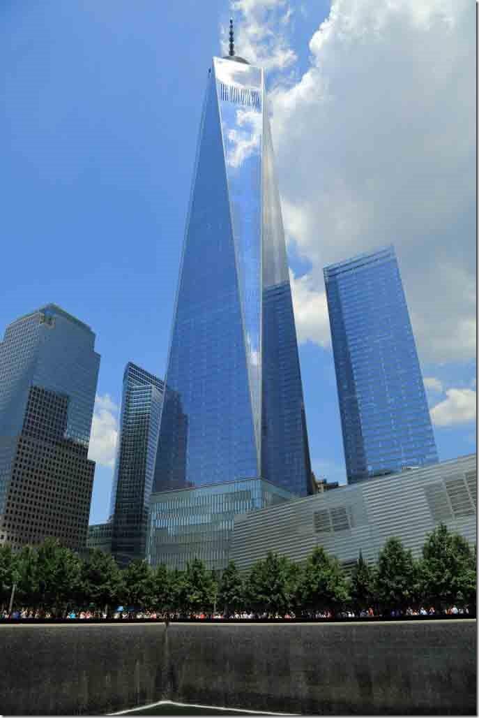Ground Zero Freedom Tower behing Twin Tower memorial