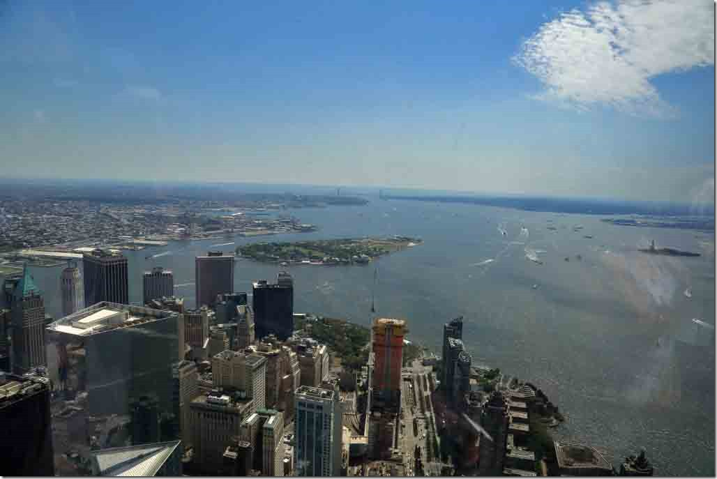 Ground Zero looking over south Manhattan towards Verrazano Bridge
