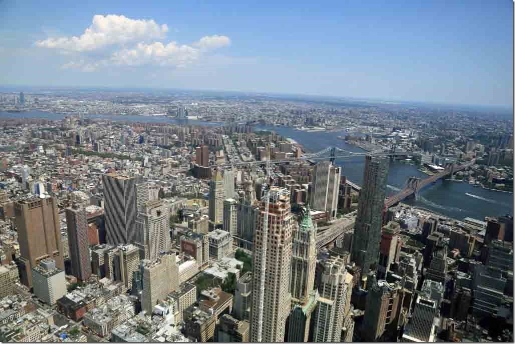 Ground Zero Manhattan, East River and Brooklyn from atop the Freedom Tower