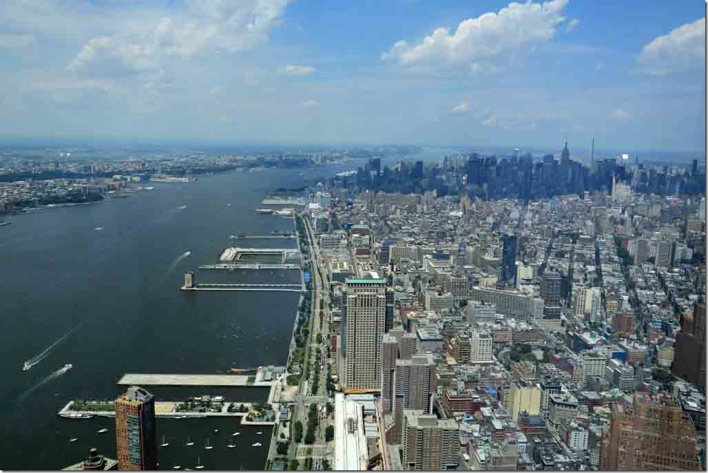 Ground Zero view up Hudson River to Sea Princess berth from Freedom Tower Observation Deck
