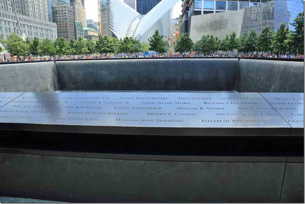 Ground Zero with victims names around the edge