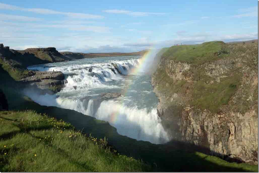 Gulfoss waterfall upper and lower falls with rainbow