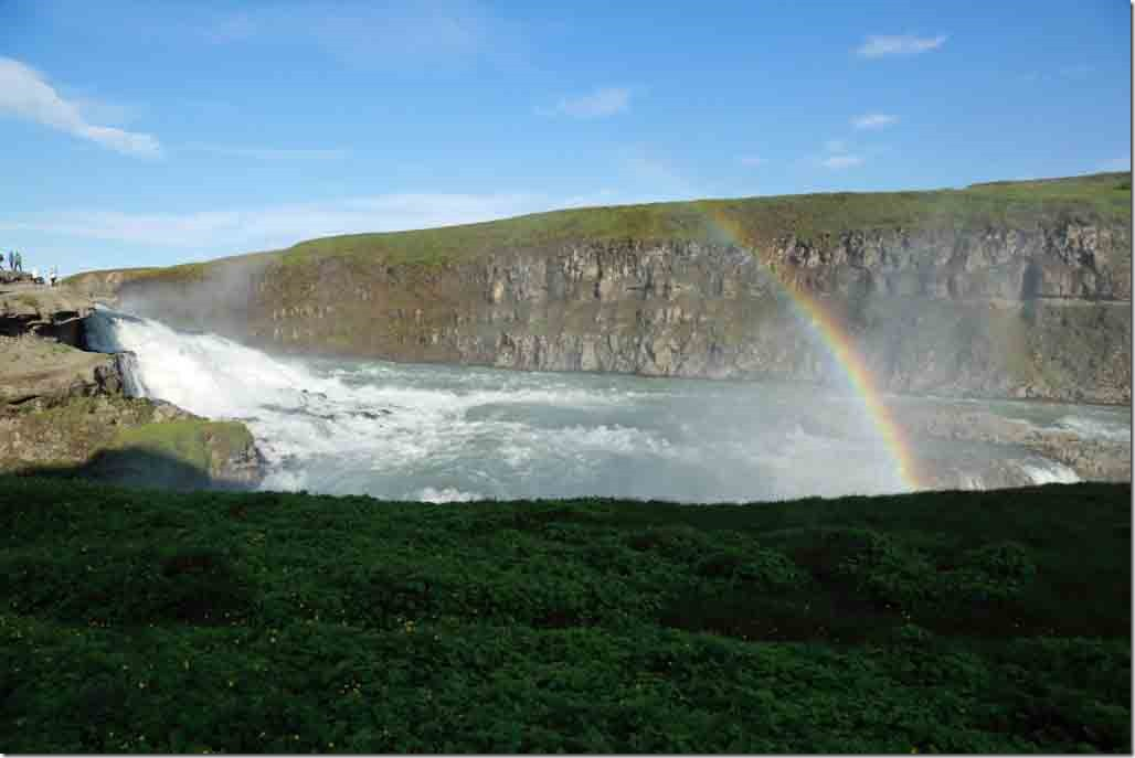 Gulfoss waterfall with rainbow