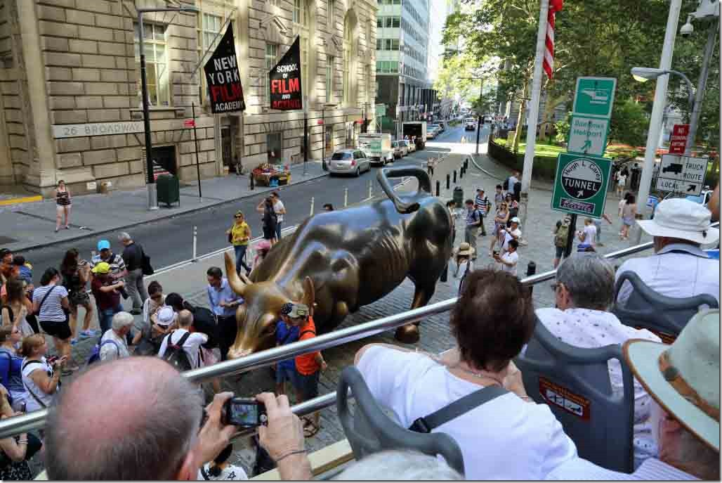 HoHo Bus bull statue on Broadway close to Wall Street