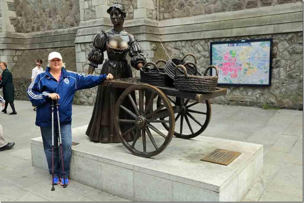 Judi beside the Molly Malone statue