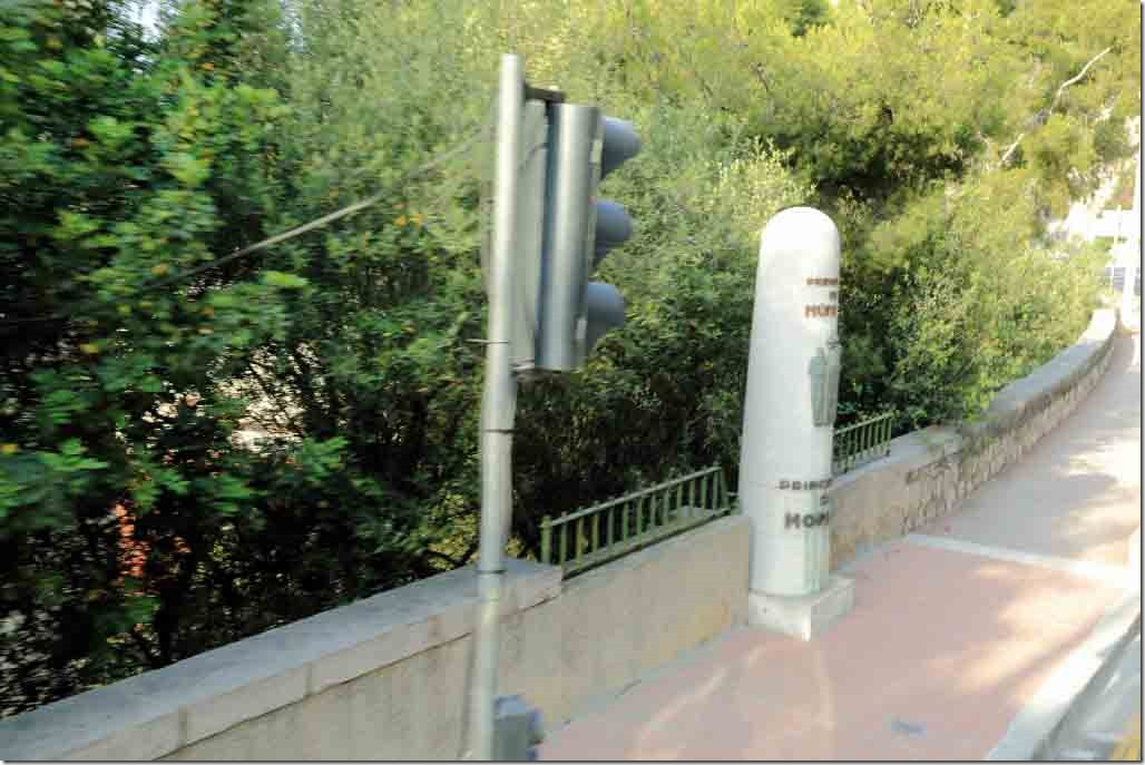 Monaco and France border post, no guards