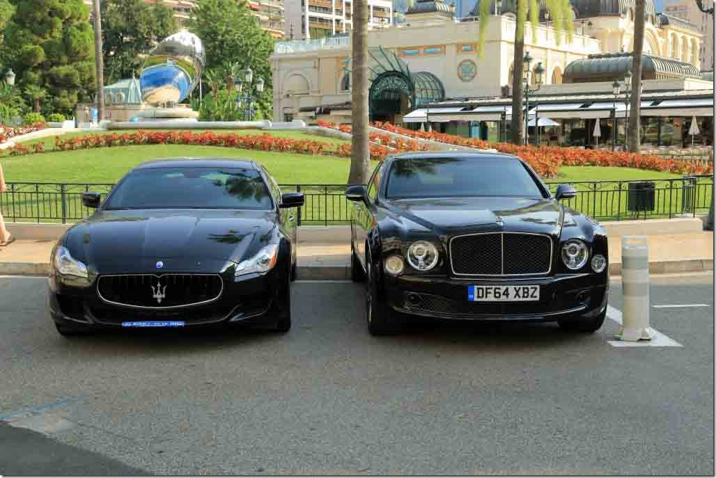 Monaco Hotel de Paris cars a Bentlry and Maserati