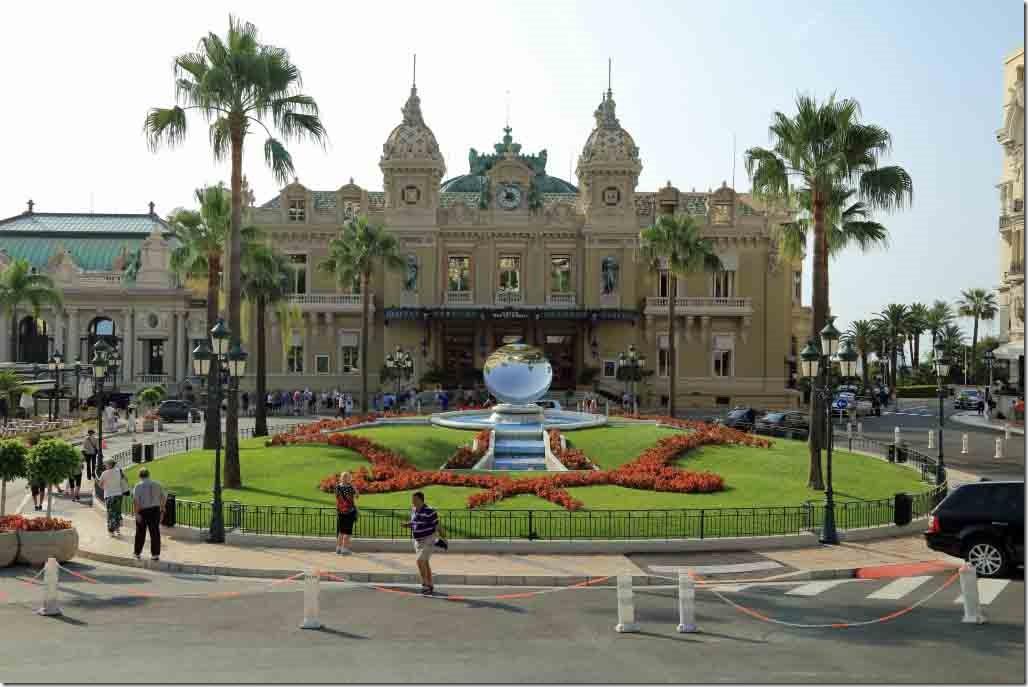 Monaco Monte Carlo Casino from across the square at the fountain