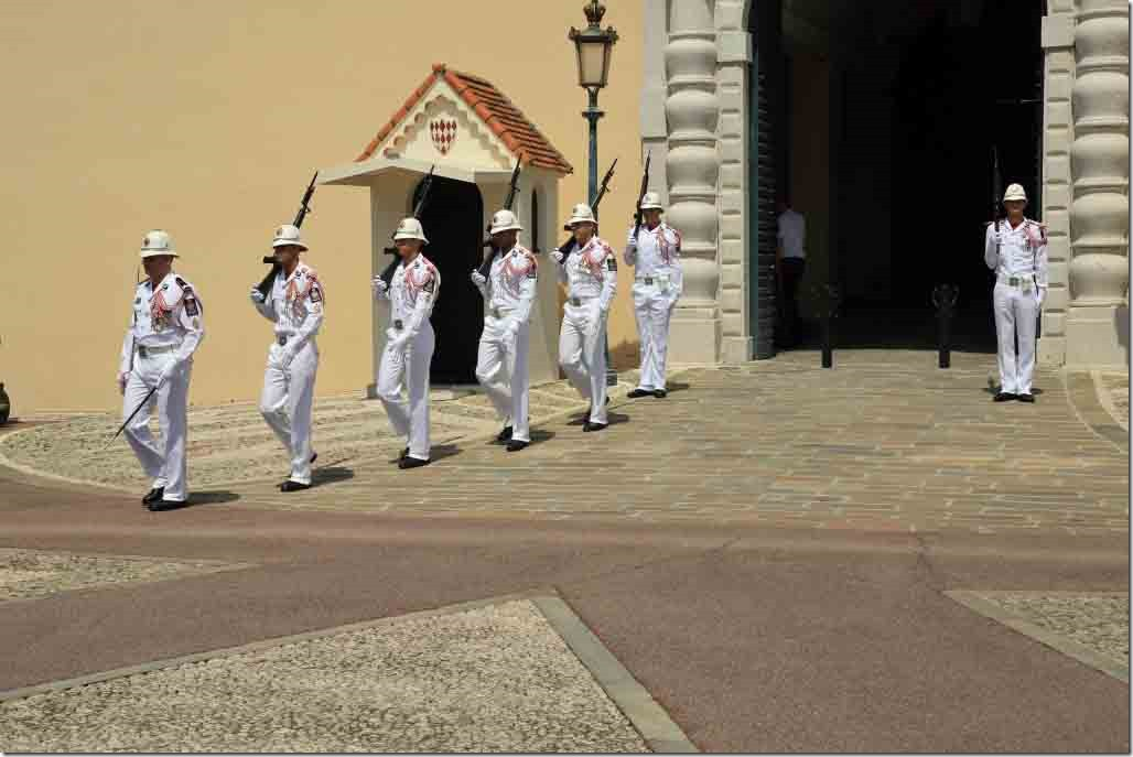 Monaco Royal Palace guards being relieved led out by their corporal