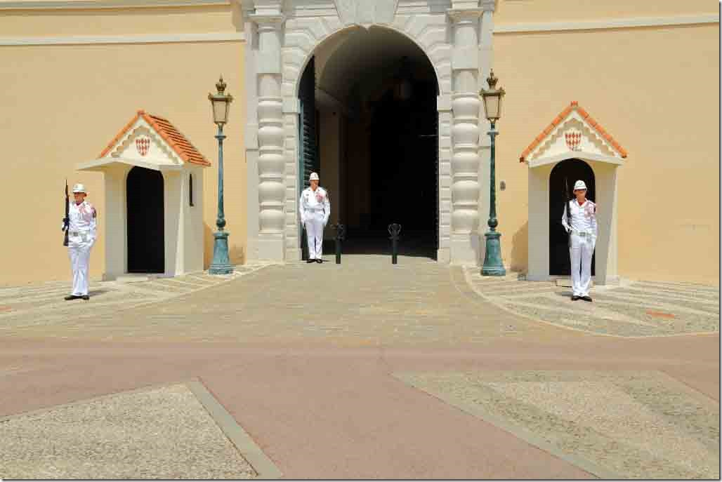 Monaco Royal Palace main gate and guards ready for the changing guard ceremony