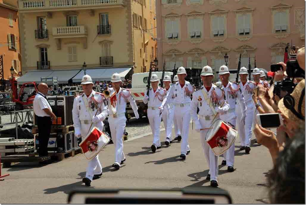 Monaco Royal Palace new guards being led in by the band