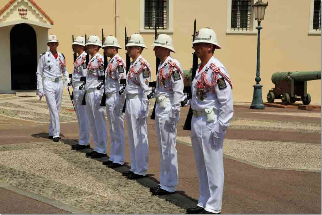Monaco Royal Palace new guards lined up for ceremony