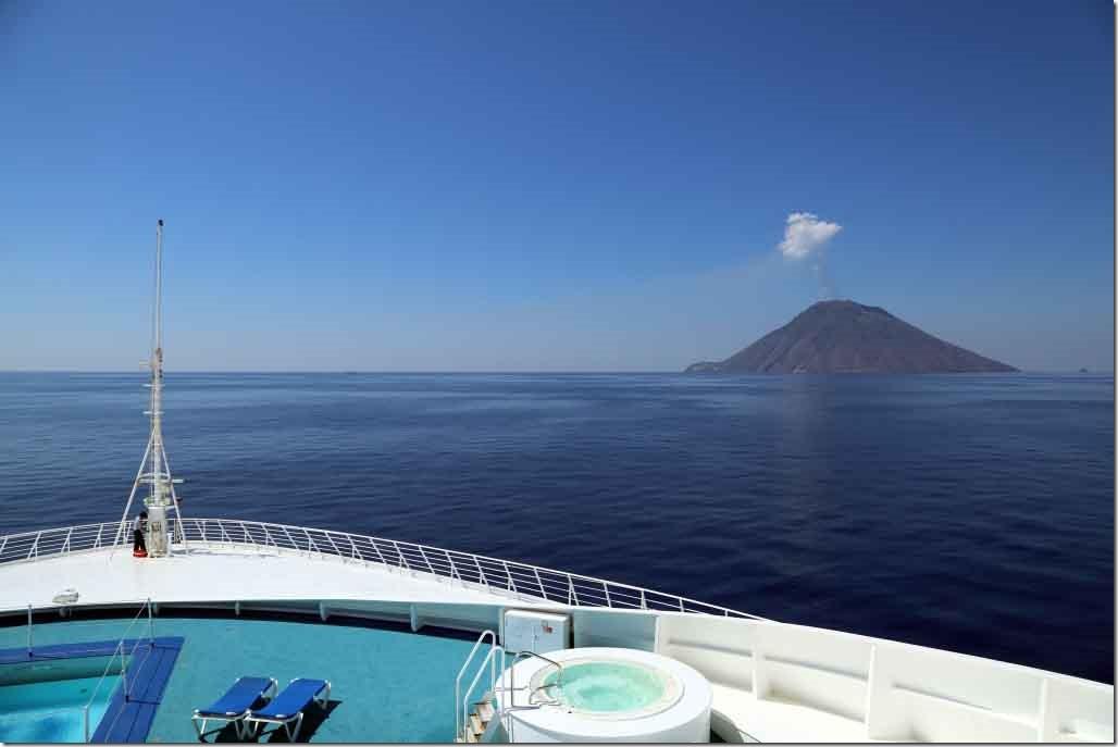 Sea Princess passing an active volcano