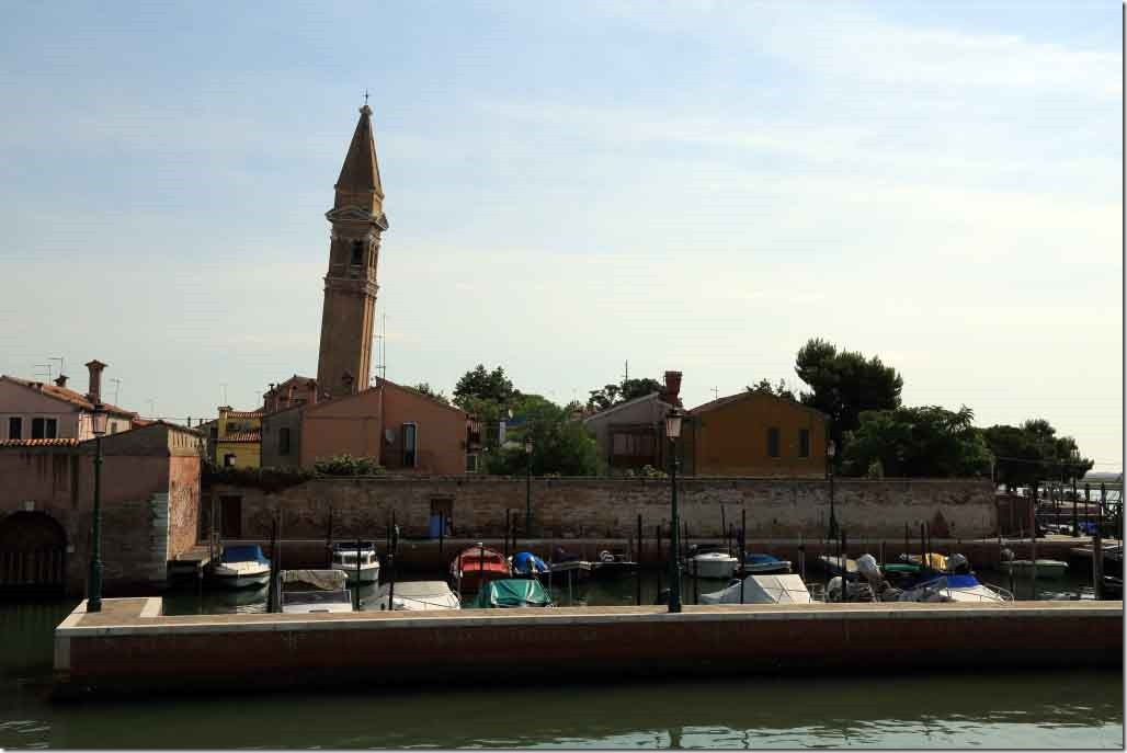 Tour Burano Island approaching berth with leaning church tower