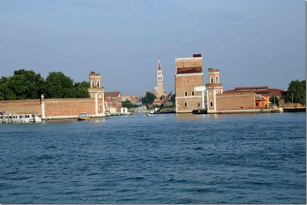 Tour heading to Murano Arsenal Shipyard with submarine on the ways