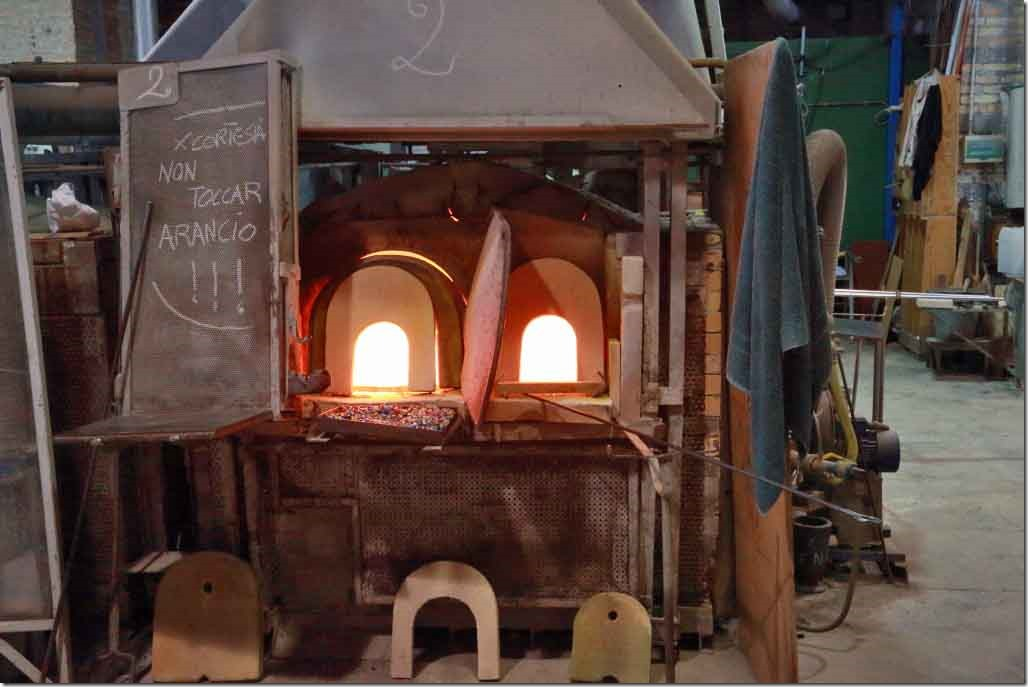 Tour Murano Glass Factory one of the natural gas fired furnaces