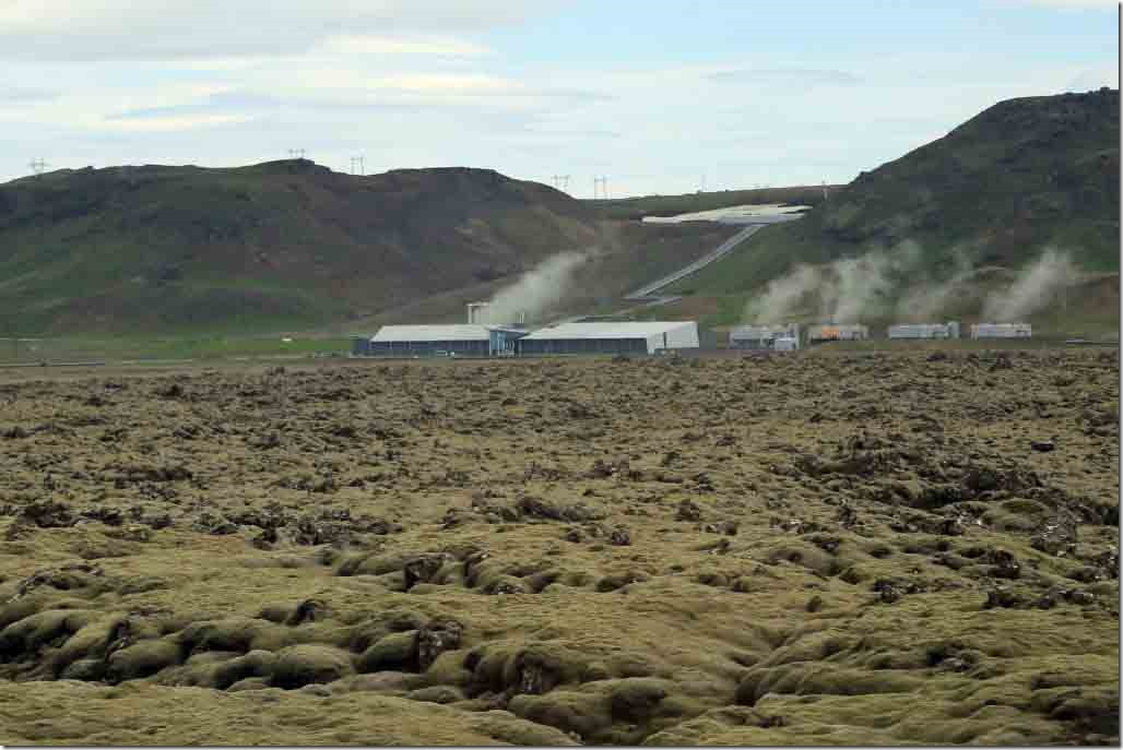 Valley transit geothermal plant amidst a sea of lava