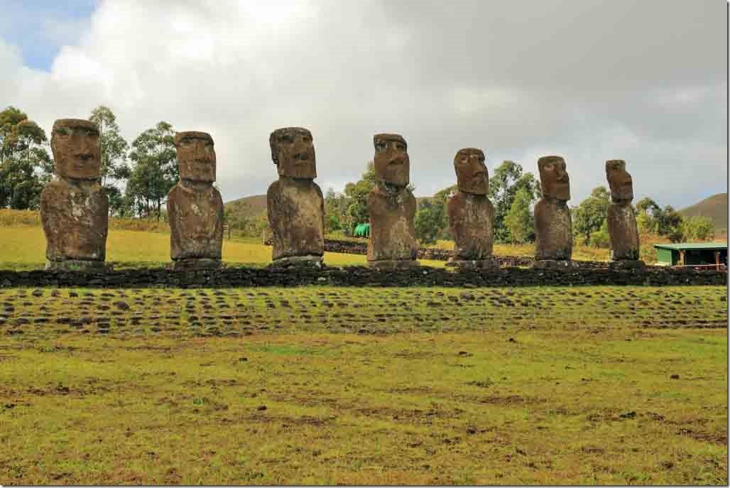 Ahu Akivi the 7 restored Maoi