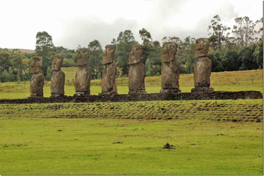 Ahu Akivi the 7 restored Moai